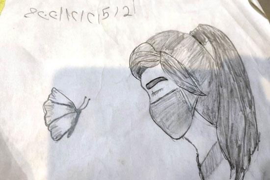 رسم-فتاة-بالكمامة-للتوعية-بمكافحة-كورونا