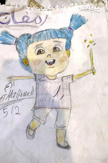 رسم-طفلة-من-الفنانيس-بأيدي-الطفلة-فاطمة