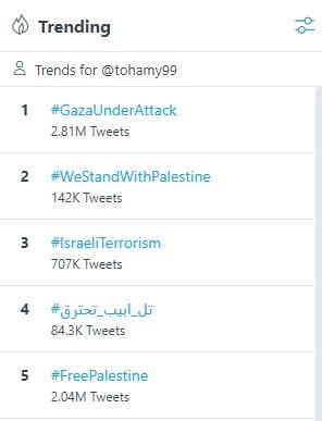 هاشتاجات فلسطين