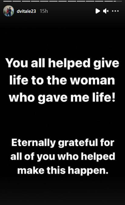 ستوري الشاب الامريكي يشكر المتبرعين لوالدته