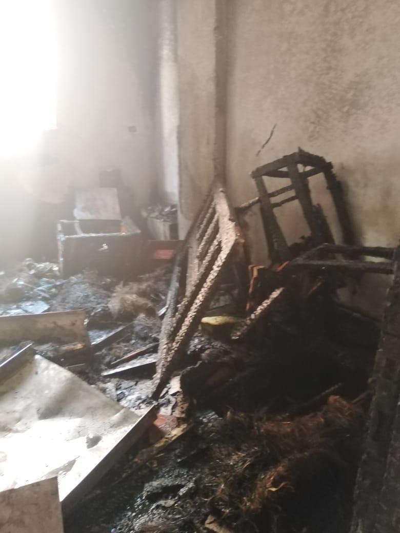 الحريق بمحتويات الشقة