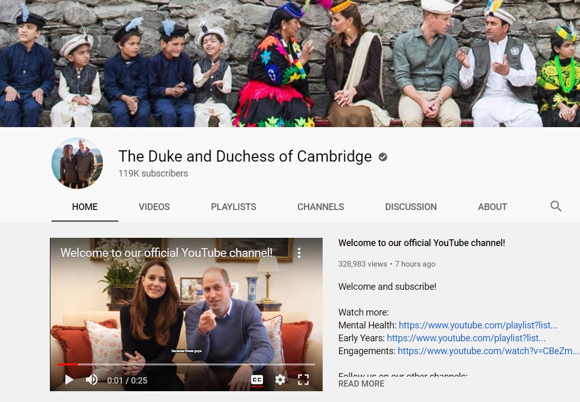 قناة كيت ميدلتون والأمير وليام على يوتيوب