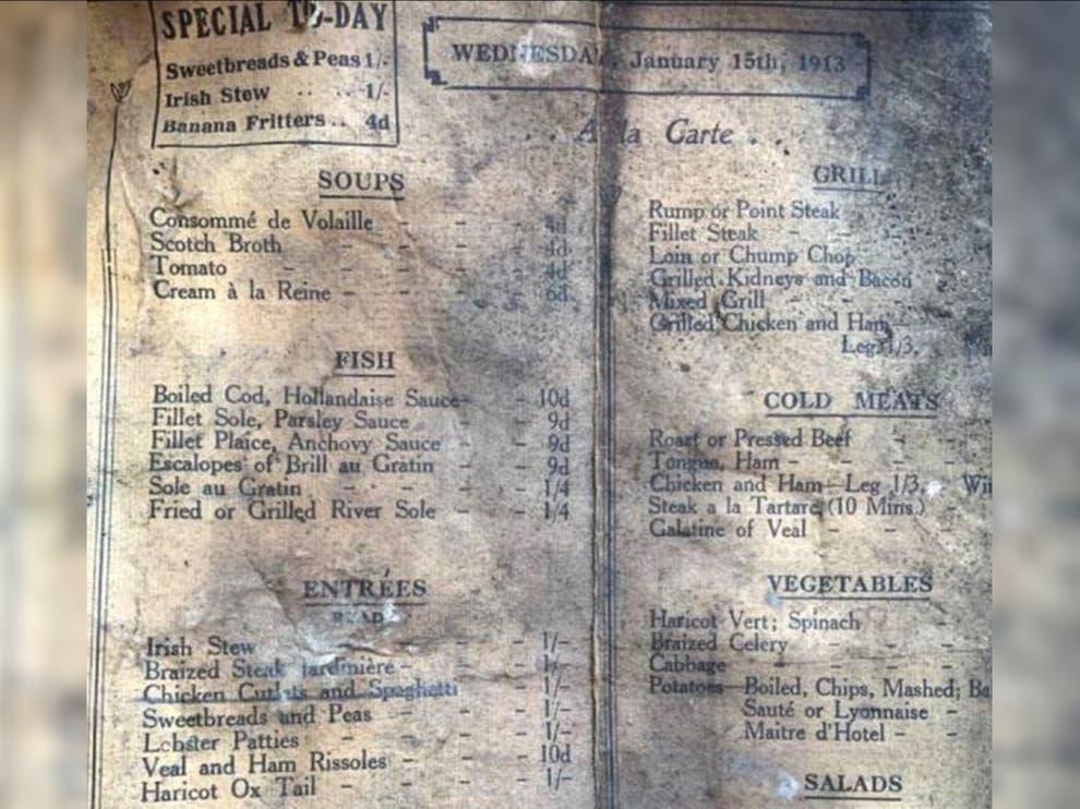 صورة من قائمة الطعام