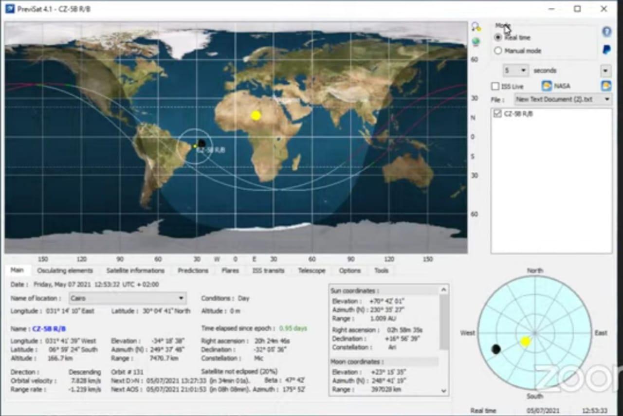 مسار الصاروخ الصينى حول الأرض