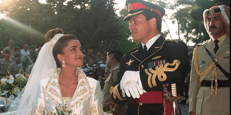 الملك عبد الله والملكة رانيا يوم زفافهما
