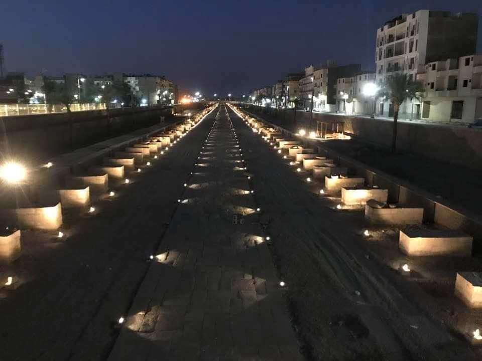 سحر وجمال طريق الكباش ليلاً بالأقصر