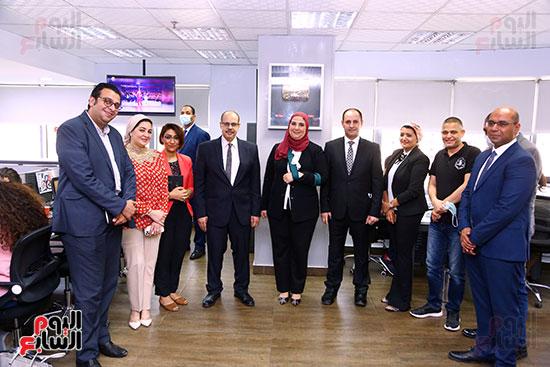 الدكتورة نيفين القباج وزيرة التضامن داخل صالة تحرير اليوم السابع
