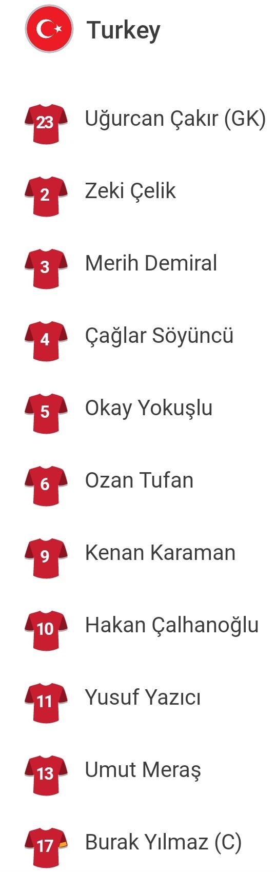 تشكيل منتخب تركيا