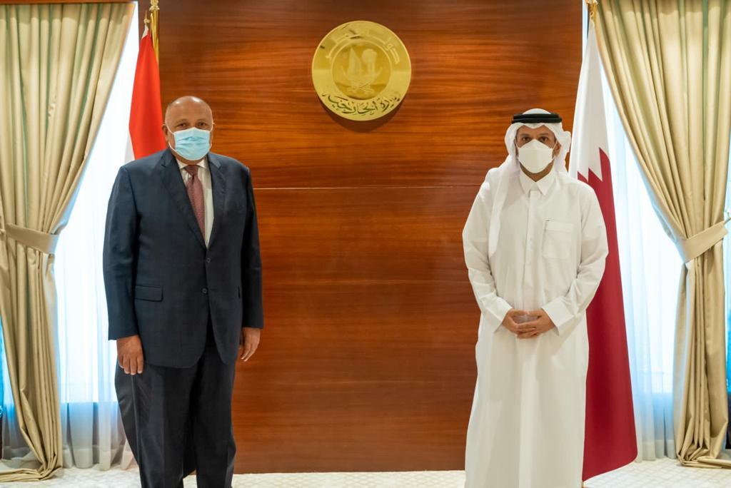 وزيرا خارجية مصر وقطر خلال لقائهما فى الدوحة