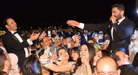 تامر حسنى من حفل زفاف نجل مصطفى قمر