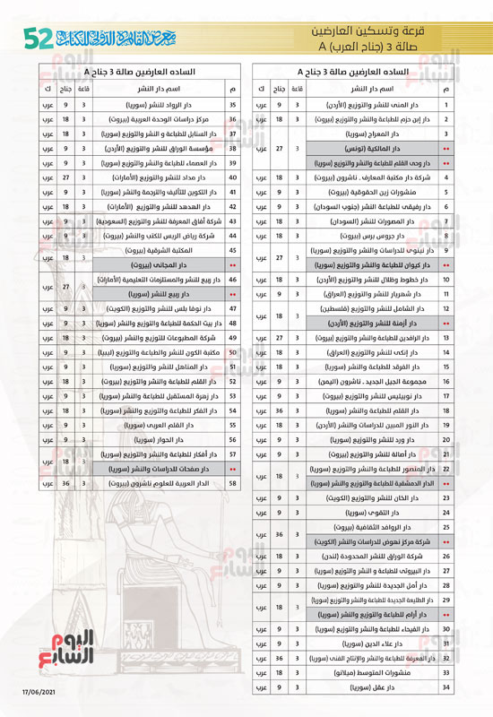 خرائط بأماكن جميع دور الناشرين المشاركين بمعرض القاهرة (9)