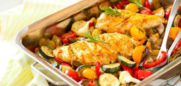 دجاج بالخضروات