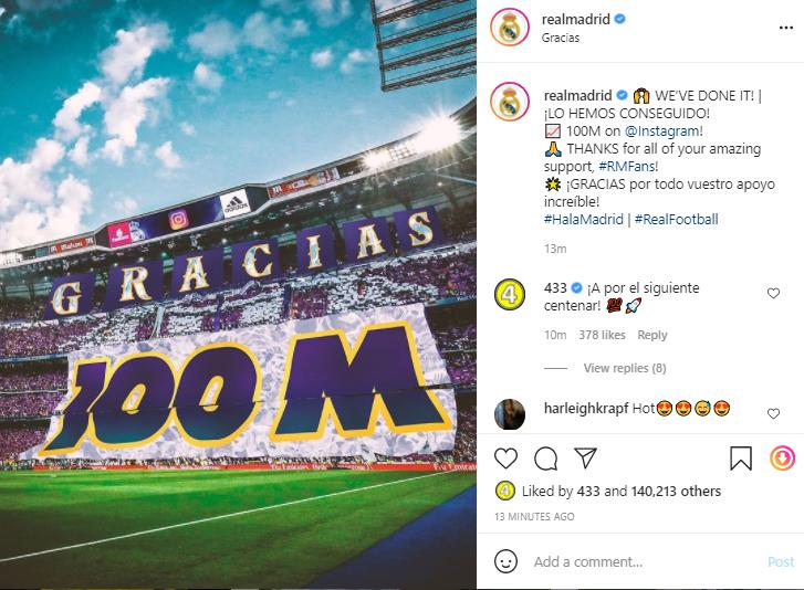 حساب ريال مدريد على انستجرام