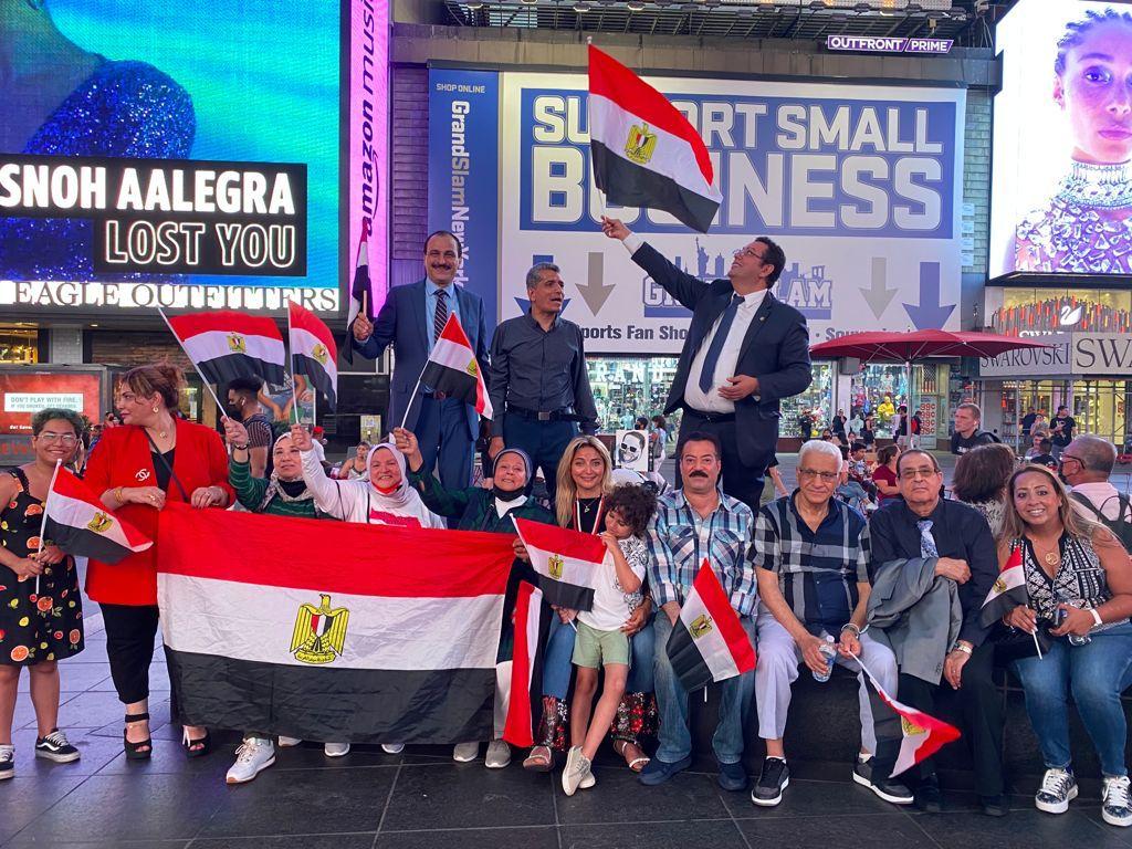 الجالية المصرية فى نيويورك تحيي ذكرى ثورة يونيو