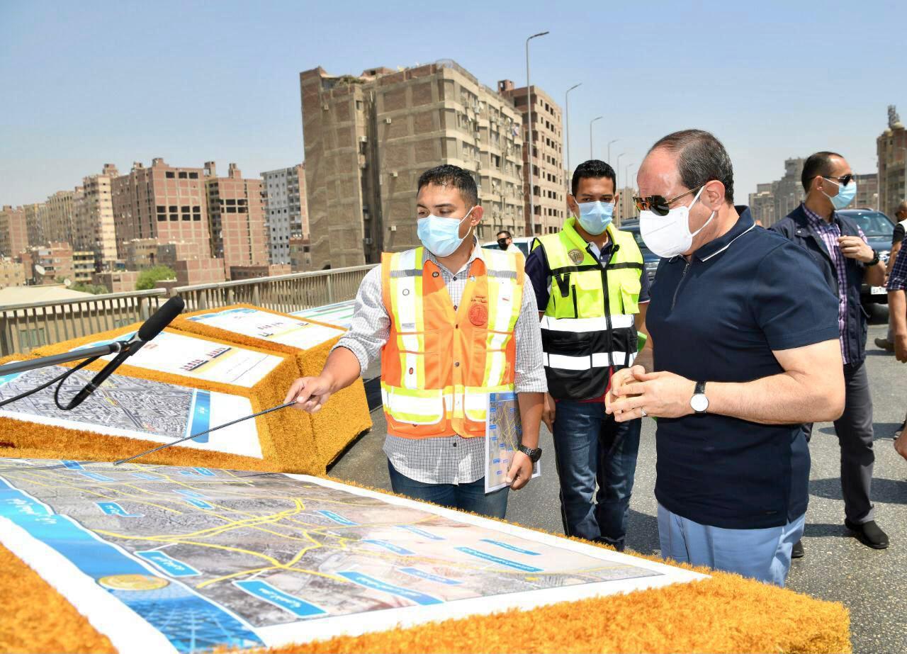 الرئيس السيسى يتفقد أعمال التطوير والصيانة للطريق الدائري (1)