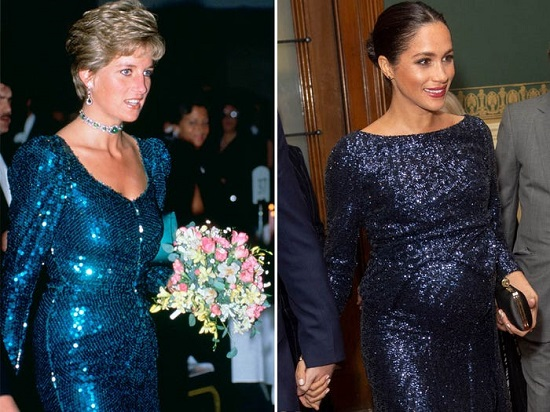Megan and Diana in a sparkly dress