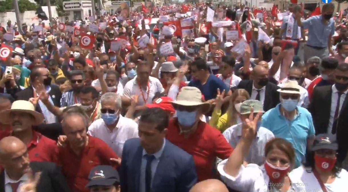 اعتصام عبير موسى فى تونس