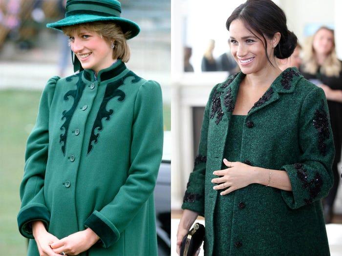 ميجان وديانا بفستان أخضر
