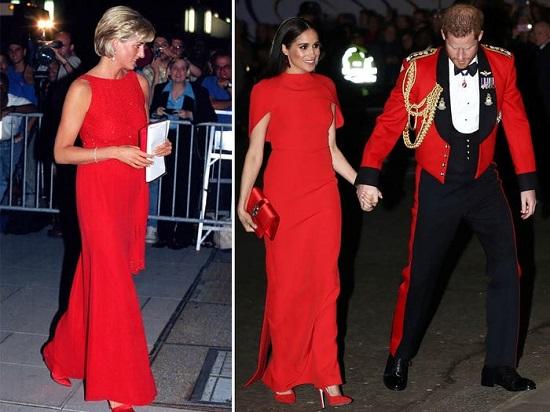 ديانا وميجان بفستان أحمر