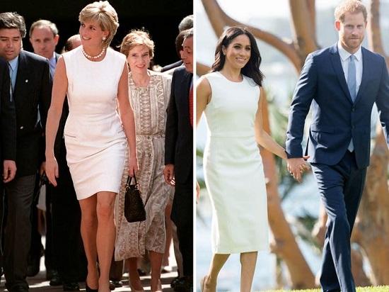 ميجان وديانا بفستان أبيض