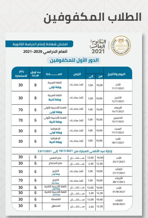 جدول امتحانات الثانوية العامة 2021 للطلاب المكفوفية