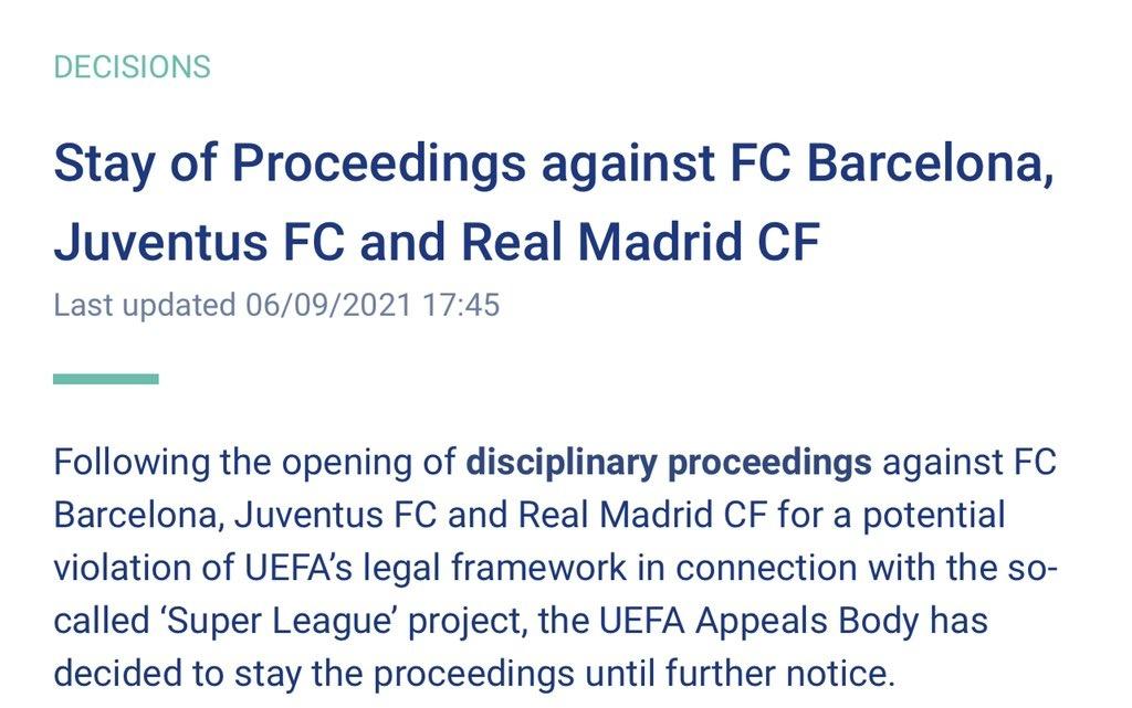 ايقاف عقوبة ريال مدريد وبرشلونة ويوفنتوس