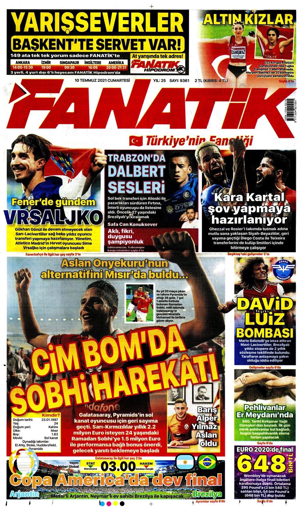 رمضان صبحي على غلاف صحيفة تركية