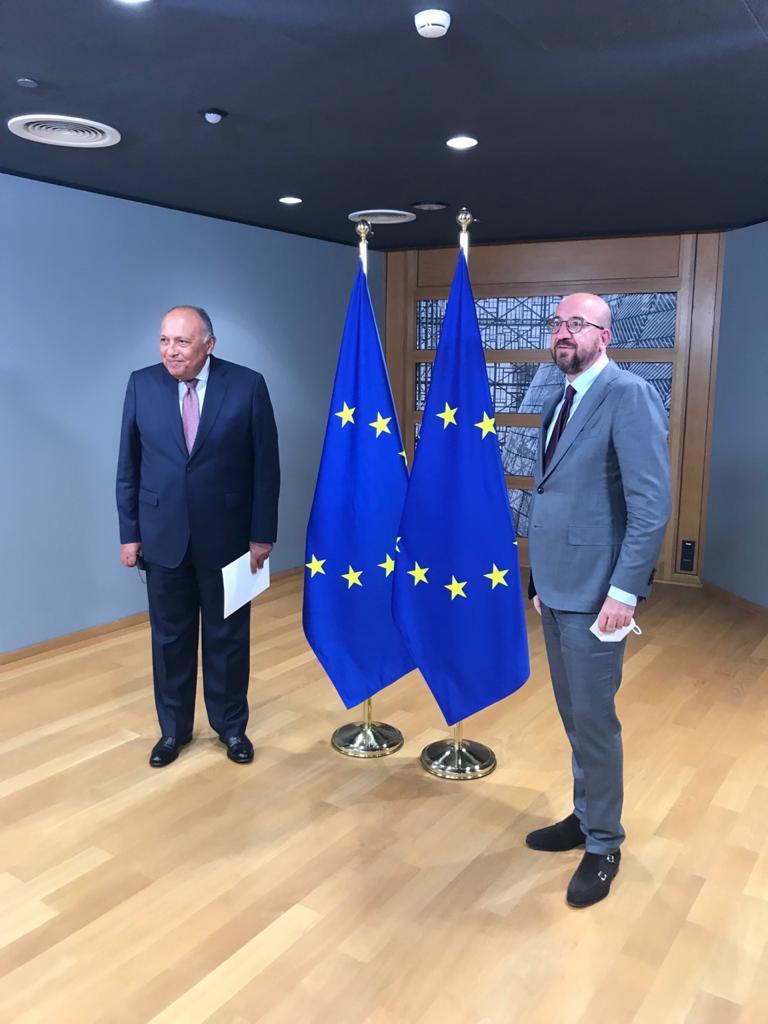 شكرى يلتقى رئيس المجلس الأوروبى فى بروكسل