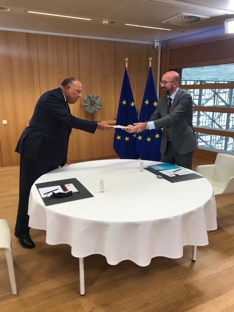شكرى يسلم رئيس المجلس الأوروبى رسالة الرئيس السسى