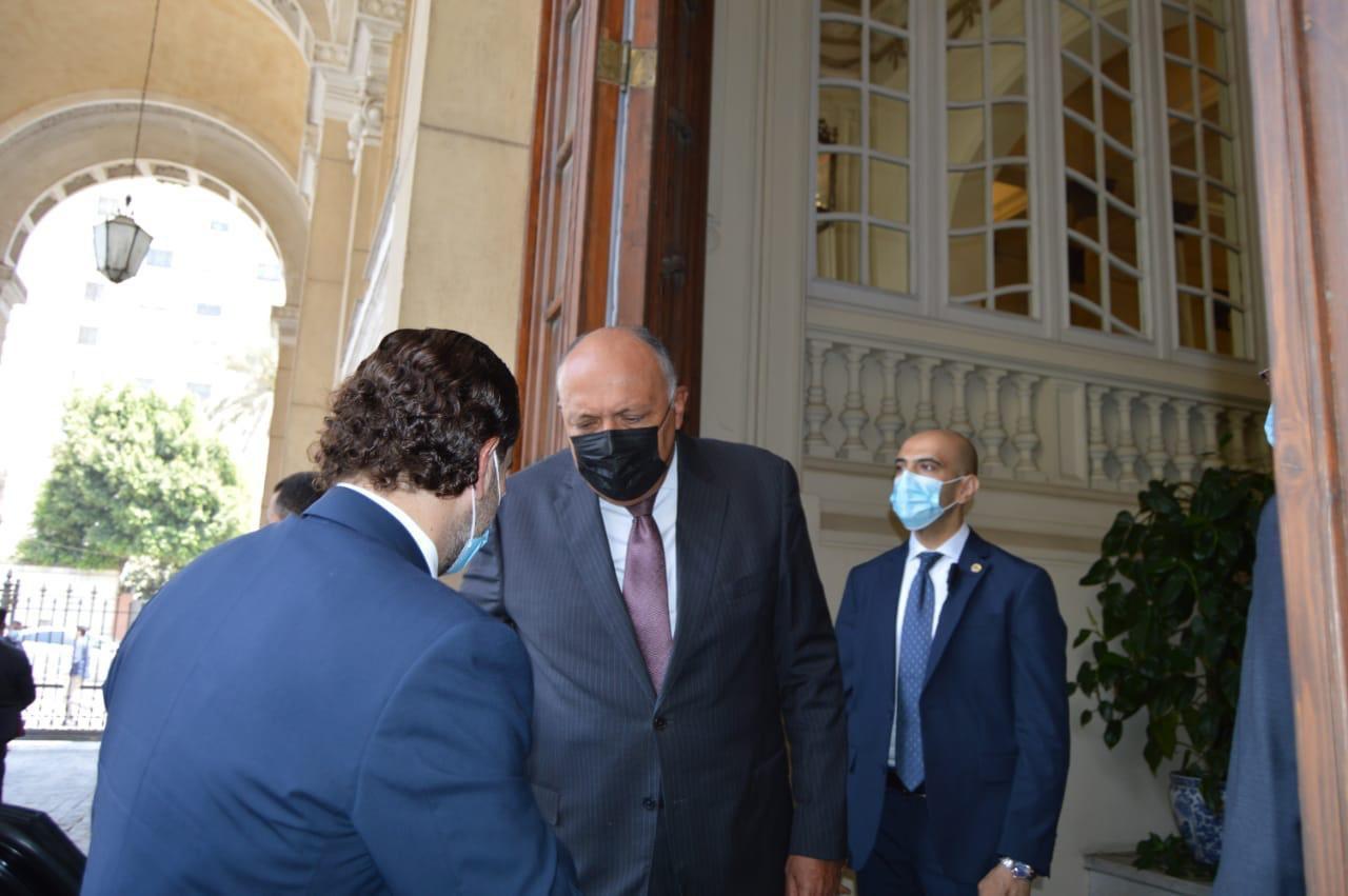 وزير الخارجية سامح شكرى فى استقبال الحريرى