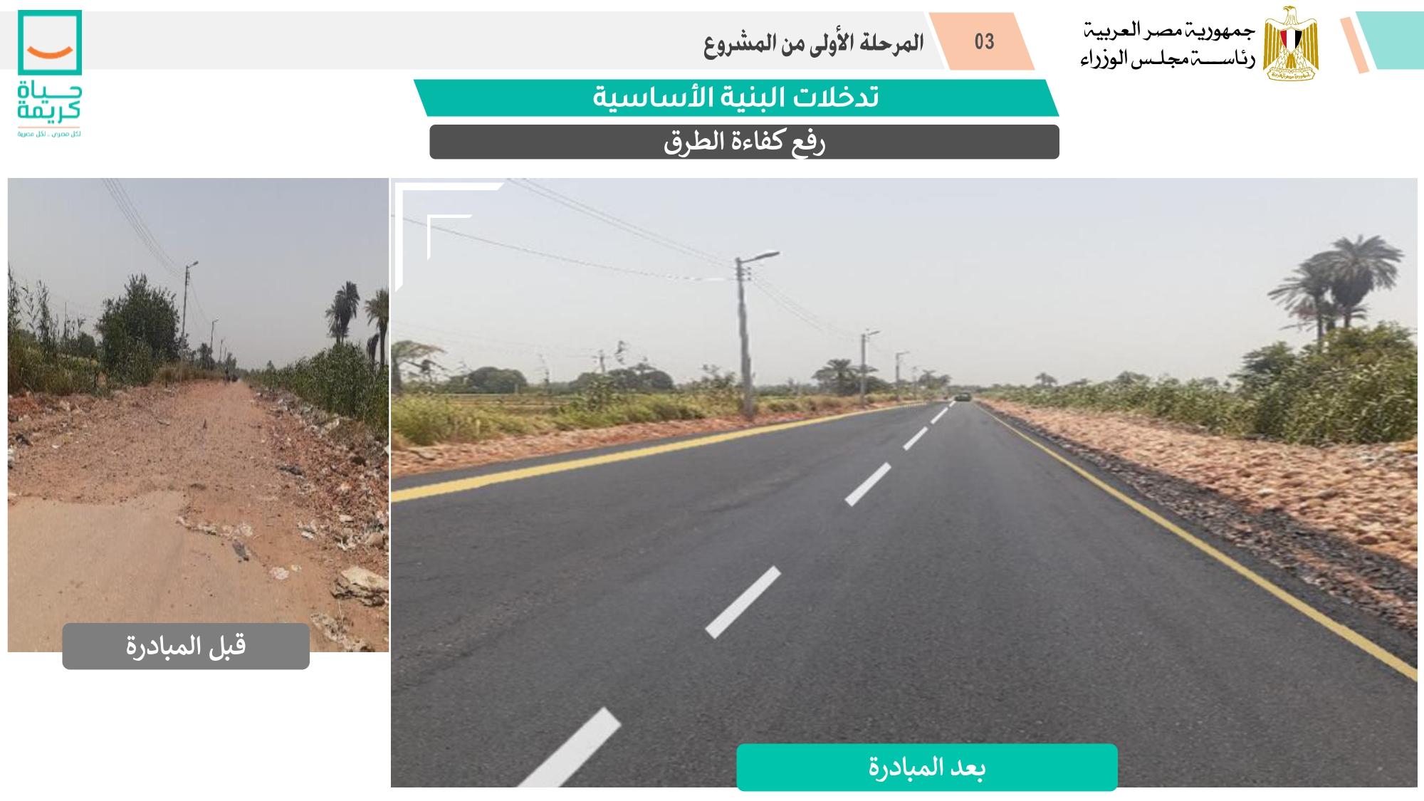 رصف الطرق ضمن المشروع القومي لتطوير القرى المصرية