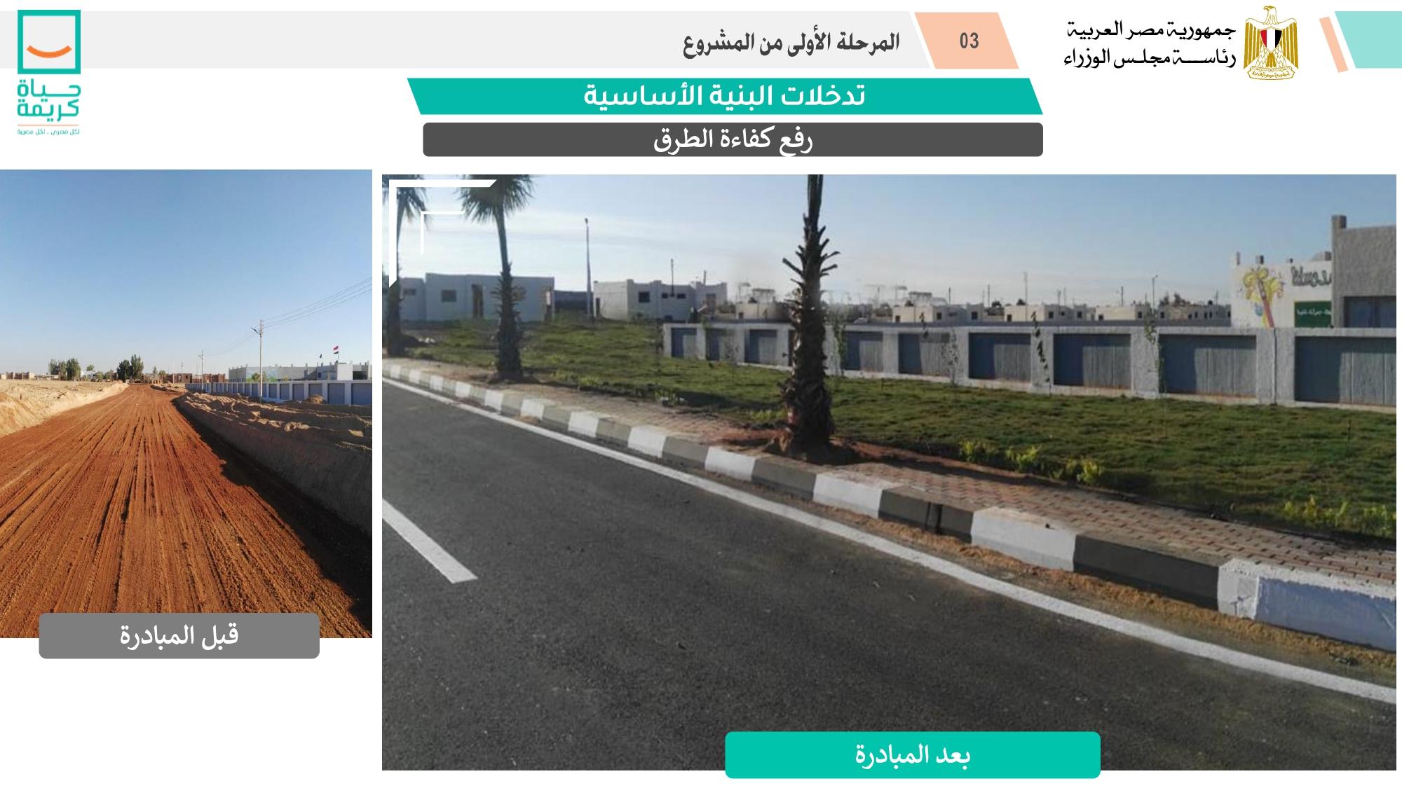 رصف وتطوير الطرق ضمن المشروع القومي لتطوير القرى المصرية