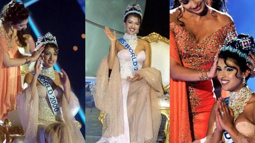 بريانكا أثناء فوزها بملكة جمال الهند