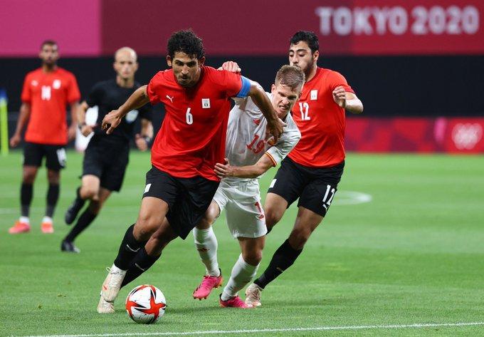 أحمد حجازى خلال مباراة مصر وإسبانيا