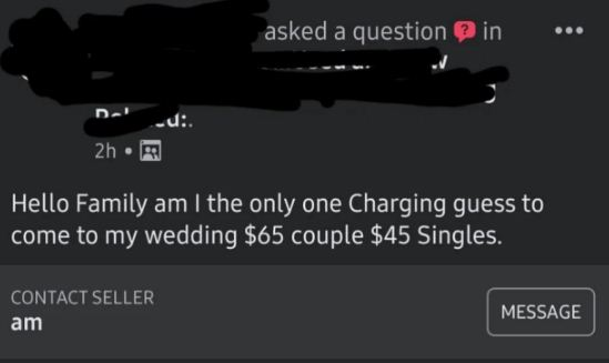 منشور العروس على فيس بوك