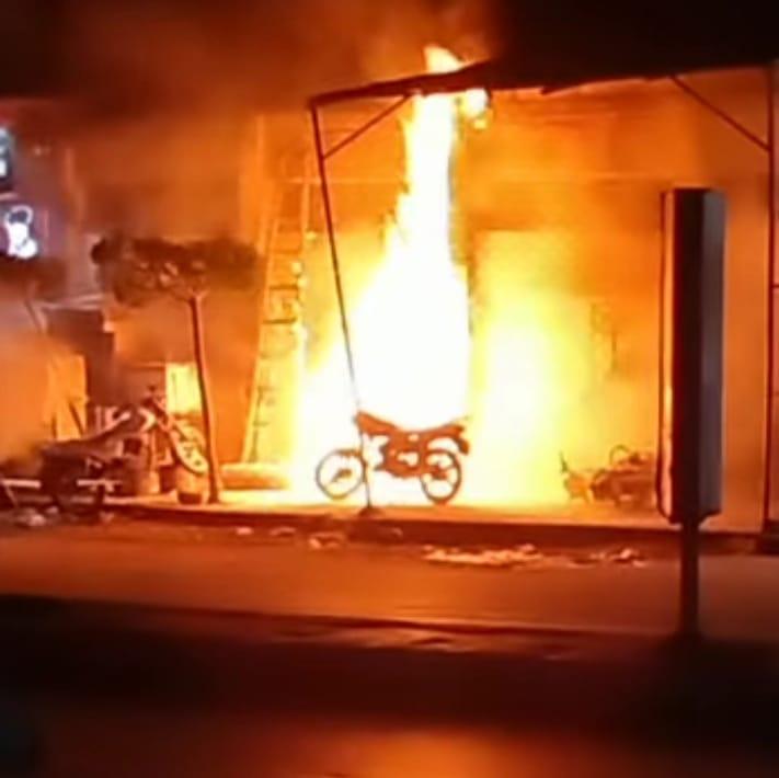 اشتعال النيران بالمحل