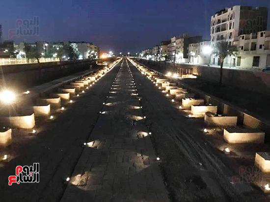 سحر-وجمال-طريق-الكباش-ليلاً-بالأقصر