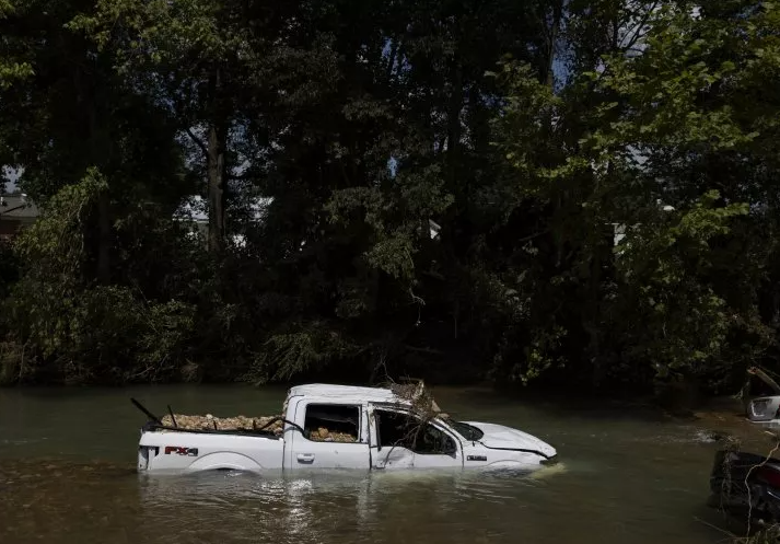 Cars submerged in water