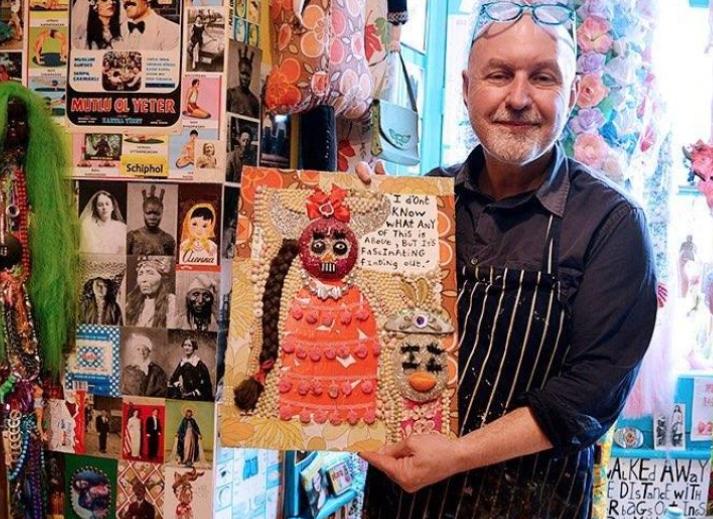 British artist with his artwork
