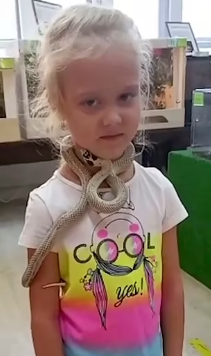 The snake clings to the girl