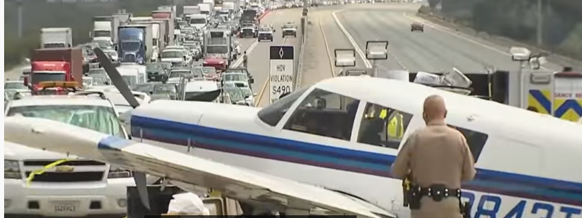 The plane is disrupting the highway