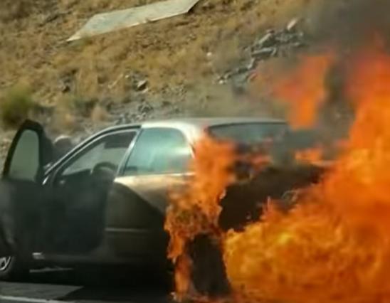 fire eats the car