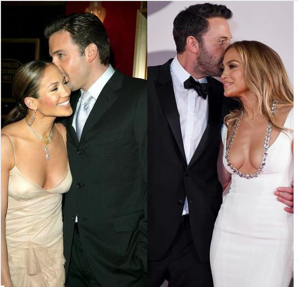 Jennifer Lopez and Ben Affleck in two photos and the difference is 18 years