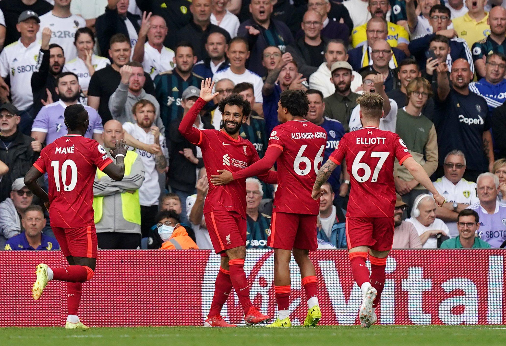 Liverpool celebrates Salah's goal