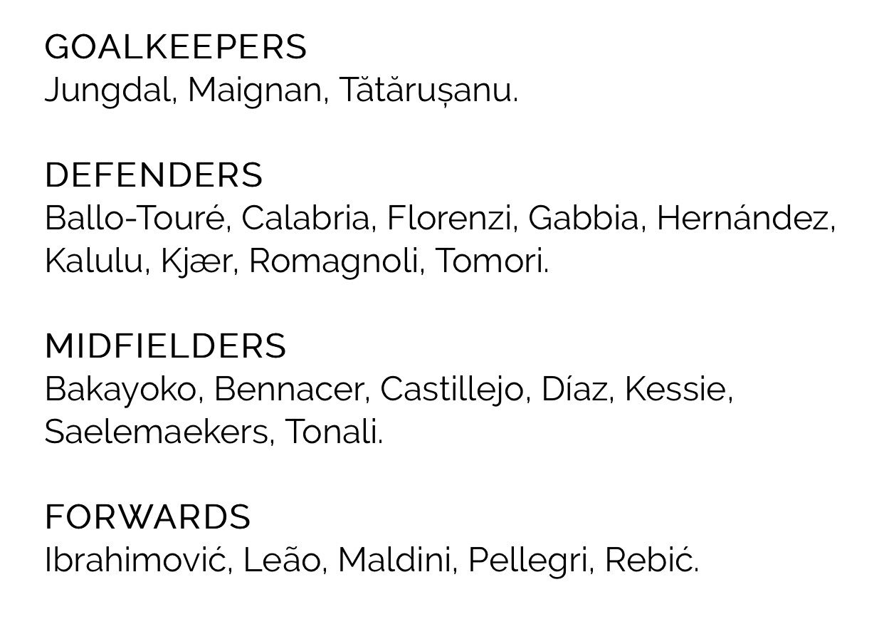 Milan List