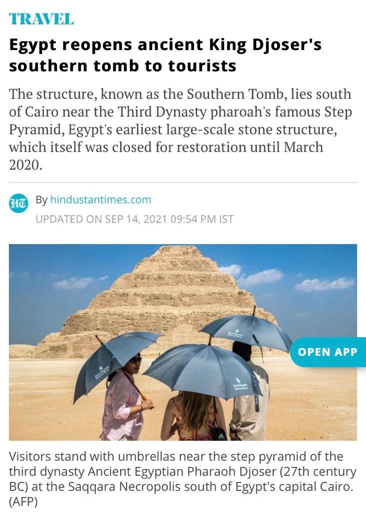 افتتاح  مشروع ترميم المقبرة الجنوبية للملك زوسر يتصدر أخبار الصحف ووكالات الأنباء العالمية (2)