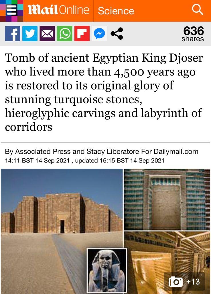 افتتاح  مشروع ترميم المقبرة الجنوبية للملك زوسر يتصدر أخبار الصحف ووكالات الأنباء العالمية (7)