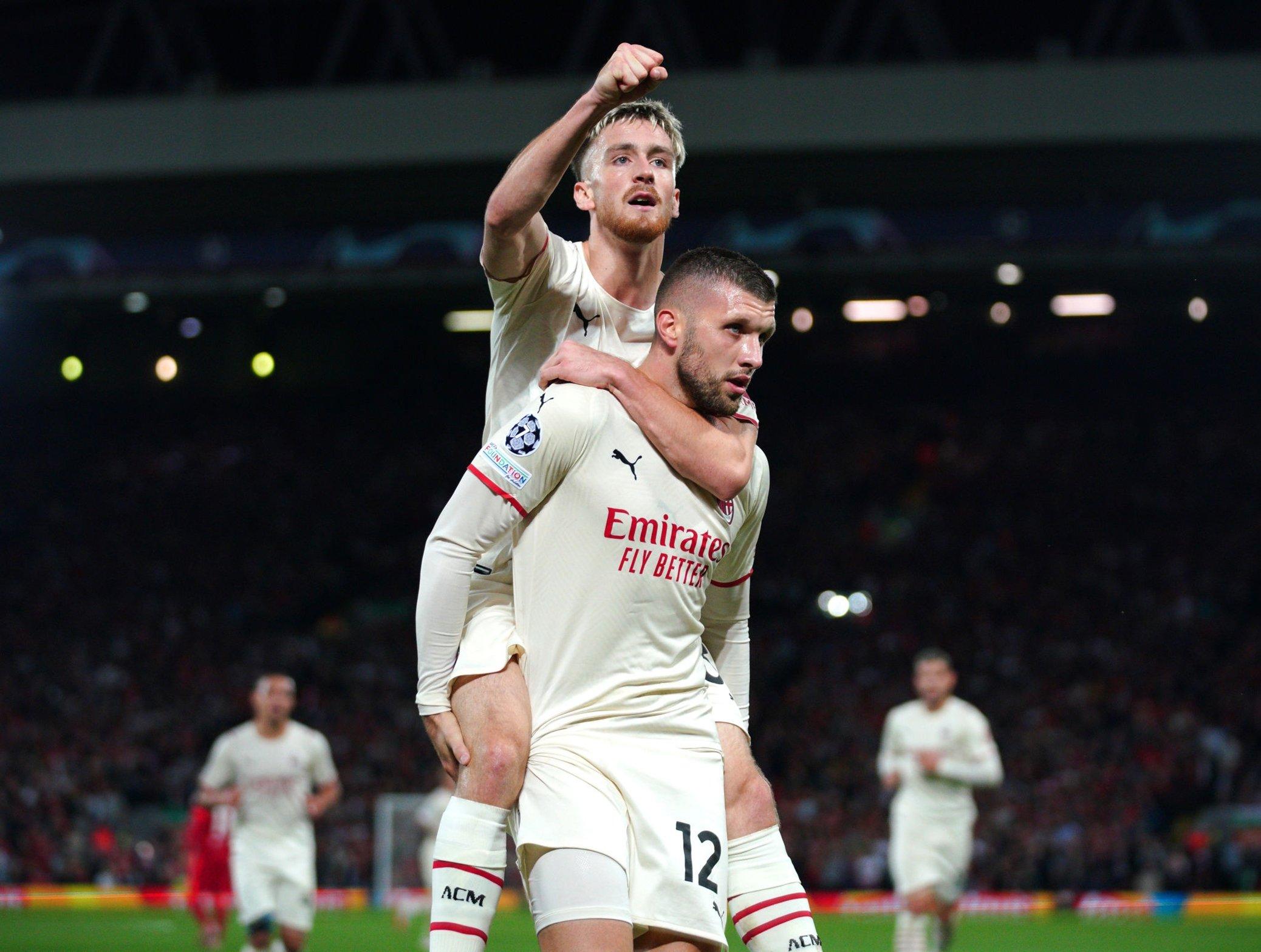 Celebrating Milan's first goal