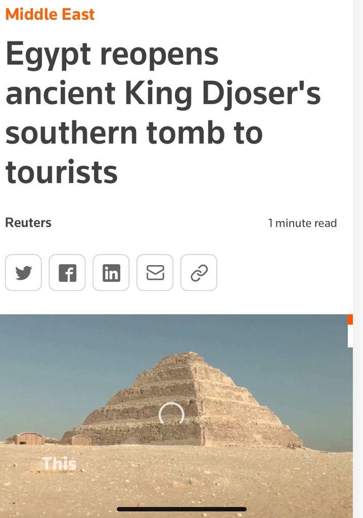 افتتاح  مشروع ترميم المقبرة الجنوبية للملك زوسر يتصدر أخبار الصحف ووكالات الأنباء العالمية (8)