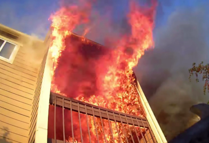 The fire is eating up the building